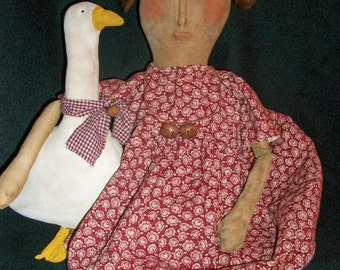 "Primitive Folk art doll ""PATTERN""  Gertrude and goose by dumplinragamuffin"
