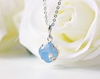 Blue Opalescent Crystal Necklace Swarovski Square Air Blue Opal Silver Necklace