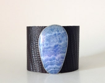 """leather cuff bracelet  - black snakeskin embossed leather with crazy lace agate - 2"""" wide"""
