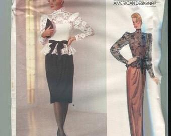 Vogue American Designer 1189 UNCUT Vintage Kasper Dress or Gown Pattern with overblouse- Size 8