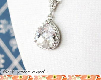 Lelanie - Silver Luxe Cubic Zirconia Teardrop Necklace, gifts for her, Silver White weddings bridesmaid necklace, bridal jewelry, crystal