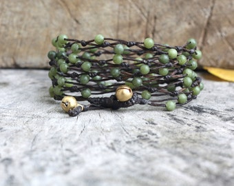 Lime Green Jade Bubble 5 Wrap Bracelet