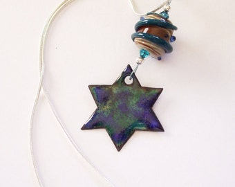 Blue Star of David Necklace - Enamel and Lampwork Bead - Fused Glass over Gold on Copper with Crystals - Silver Plated Snake Chain