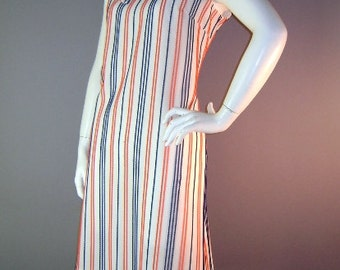 60s dress 1960s vintage RED WHITE BLUE stripe bow A line mod new old stock dress