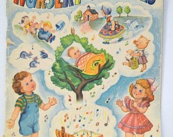 Vintage Nursery Rhyme Music Book Treasure Chest of Nursery Rhymes 1942