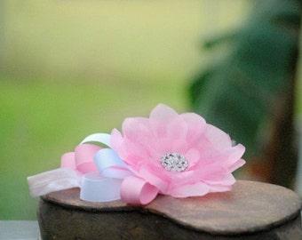 Baby Pink & White Flower Headband. Newborn Baby, M2M Matilda Jane / Persnickety Hair Bow. Wedding Accessory, Kid Toddler New Born Dedication