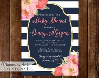 Watercolor Garden Floral Baby Shower Invitation, Navy and White Stripes Shower Invitation, Watercolor Peonies, Gold Glitter Invitation