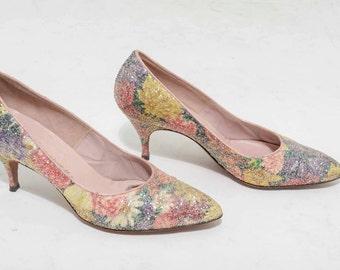 Vtg 50s Glitter Sparkly Pin Up Rockabilly Bombshell Floral High Heel Pump Size 8