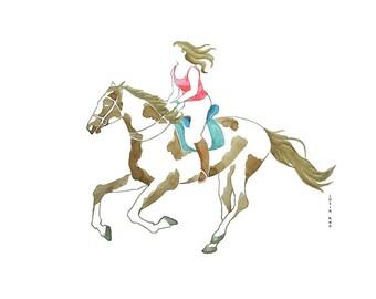 Horse riding woman watercolor, Sport Art, Animal horse drawing