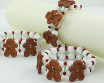 RESERVED Listing: Gingerbread Man Beaded Napkin Rings, Red White Green, Gingerbread Decor - Set of 6