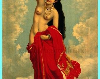 antique Hindu mythology nude celestial nymph illustration digital download