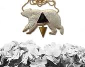 Geometric Bear Necklace, Bear Necklace, Animal Jewelry, Bear Jewelry, vegan jewelry, vegan necklace - SNAKESKIN