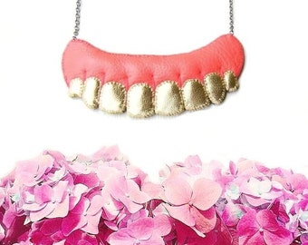 Human Teeth Necklace, Gold Teeth Necklace, vegan necklace, vegan jewelry