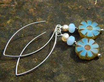Cornflower Earrings - Beautiful Etched Czech Glass Flower Beads, Antique Cut Steel & Shell Beads and Long Handmade Sterling Silver Ear Wires