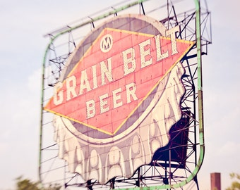 Grain Belt Beer Sign, Iconic Minneapolis Vintage Sign, Fine Art Photography