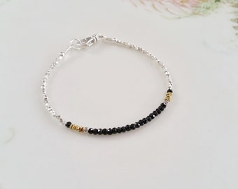 Black Spinel and Thai Hill Tribe Silver Bracelet