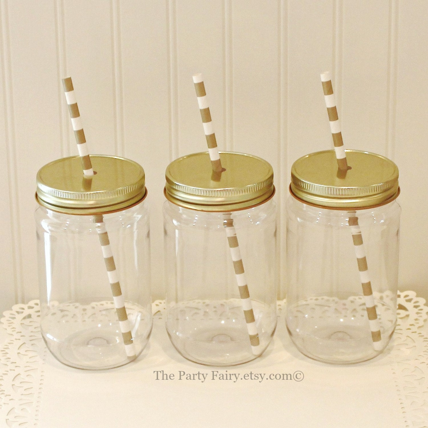 Plastic Mason Jars 10 Plastic Mason Jars with Gold Lids