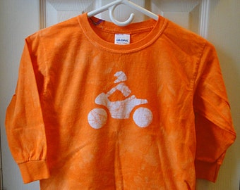 Kids Motorcycle Shirt, Boys Motorcycle Shirt, Girls Motorcycle Shirt, Orange Motorcycle Shirt, Long Sleeve Motorcycle Shirt (Youth S) SALE