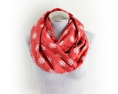 Nautical Red and White Polka Dot Flannel Infinity Scarf