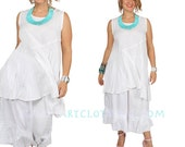 SunHeart Ceres Top White Boho hippie chic SwingY hi-low asym peiced Top small medium large CLEARANCE SALE