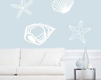 Seashells Wall Decals - Sea Shells - Ocean Beach Stickers Graphics