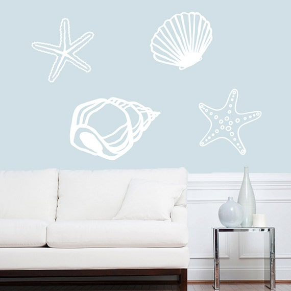 seashells wall decals sea shells ocean beach stickers seashell wall decal set sea shell vinyl sticker 4 pack