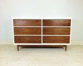 Vintage Modern Lowboy In White and Wood