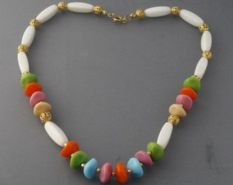 Multi Color Bead Necklace, Glass Bead Necklace, Colorful Necklace, Beaded Pastel Necklace, White Necklace, Spring Necklace, Summer Necklace