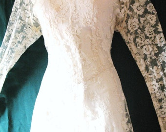 ANTIQUE FReNCH LACE~WEDDiNG DRESS GOWn OverLay w/Detached Bias Cut Slip Dress Underlay~Two Gowns in One~Full Sweep Skirt