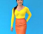 Vintage 1980s Orange Leather Skirt