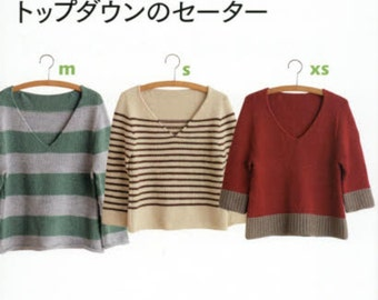 Top Down Sweaters - Japanese Knitting Pattern Book for Women Clothing Wear - Easy Knitting Tutorial - Cape, Tunic, Cardigan, Coat - B1575