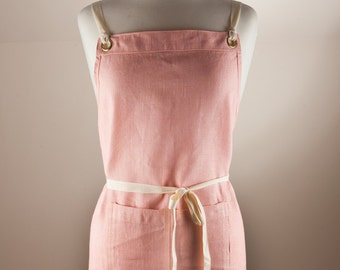 Linen Apron, Full Apron. 100% Linen. Light Pink color. Made by Linen and Tailor.