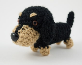 Dachshund sausage dog puppy crochet amigurumi plush toy