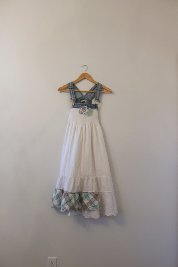 Denim Overalls Dress Boho Shabby Chic Cottage Chic Free