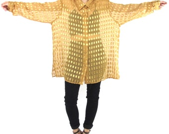 90s Sheer Gold Blouse See Through Shirt Long Sleeve Button Down Yellow Slouchy Sheer Shirt Star Geometric Squares Print Party Shirt (L/XL)