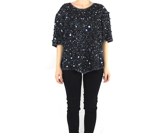 80s Black Sequin Blouse Beaded Silk Sequin Top Indian Silk Disco Glam Cocktail Party Short Sleeve Blouse Fancy Plus Size Shirt (XL/XXL)