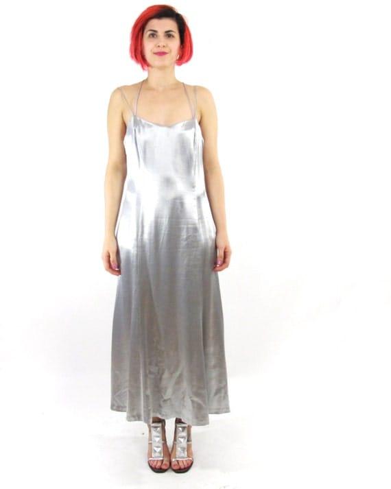90s Metallic Silver Prom Dress Silver Strappy Maxi Dress