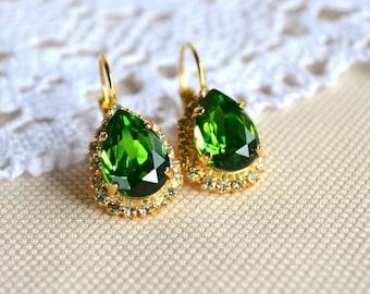 Fern green Swarovski earrings, drop earrings, green and gold earrings, luxe earrings
