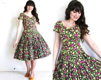 50s Dress / 1950s Dress / 50s Garden Party Full Skirt Dress