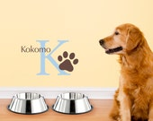 Initial & Dog Name Wall Decal - Pawprint wall decal - Small