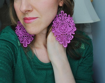 NEW Viva lace earrings/ Spring Collection/ Long earrings/ Romantic earrings/Springtime jewelry/ Gift idea/ rusteam