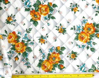 "1 yard x 36""w Vintage 50s  Gorgeous Orange and Yellow  Roses faux Quilted  Cotton  Quilt  Fabric"