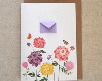 Dahlias and Butterflies  - Tiny Envelopes Card