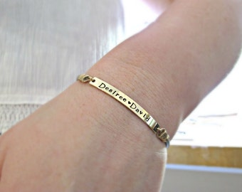 GOLD Bracelet, Custom GOLD Bracelet, Engraved Bracelet, Personalized, Bracelet, Minimal Gold Bar Bracelet, Long Gold Bar Bracelet, GIFT