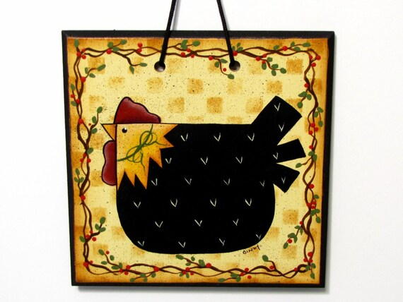 Primitive Chicken Sign, Handpainted Wood, Home Decor, Wall Art