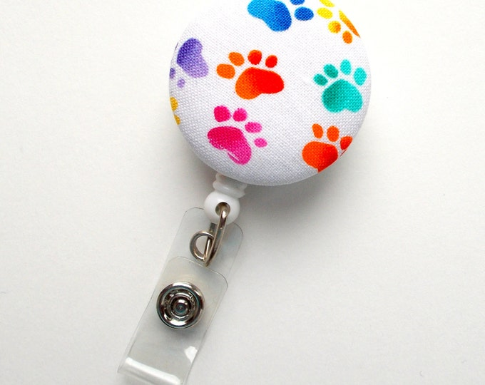 Rainbow Paw Print - Nurse Badge Holder - Vet Badge Reel - Retractable Badge Reel - Teacher Badge - Flower Badge Reel - Veterinarian Badge