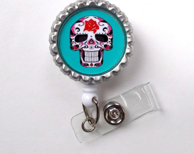 Skeleton Aqua - Nursing Badge Holder - Labor and Delivery Badge Reel  - Nurse Name Badge -Teacher Badge - Medical Badge - Office Badge