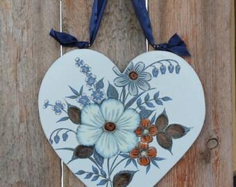 handmade wall decor hanging heart with flowers