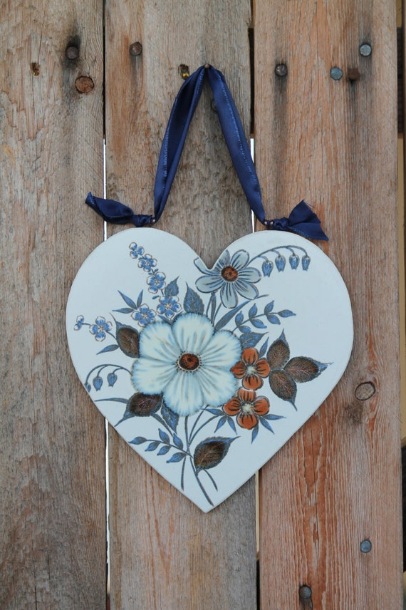 Hanging Heart Wall Decor : Handmade wall decor hanging heart with flowers