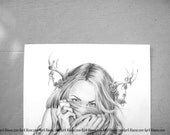 Begonia's Sister- Illustration- Deer- Antler-Black and white- 8 X10 signed print- woman- portrait- fine art